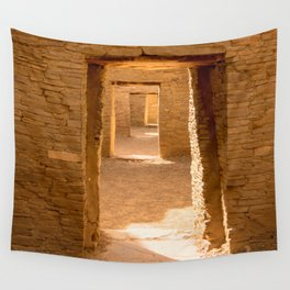 Chaco Ancient Doors Chaco Ancient Holes and a row of doors at Pueblo del Arroyo Scarf Wall Tapestry