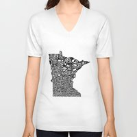 minnesota V-neck T-shirts featuring Typographic Minnesota by CAPow!