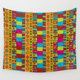 Abstract hand drawn Ethno design  in vivid colours. Wall Tapestry