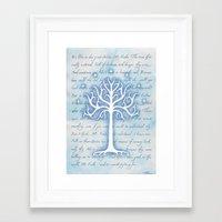 gondor Framed Art Prints featuring Tree of Gondor by JadeJonesArt