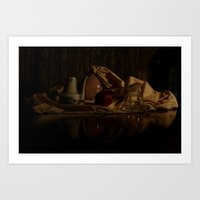 still life with red apple  Art Print