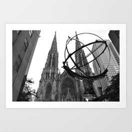 Atlas Statue and St. Patrick's (Black and White) Art Print