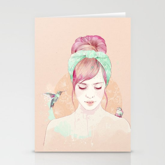 Pink hair lady Stationery Cards
