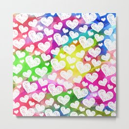 Rainbow Watercolor Hearts Metal Print