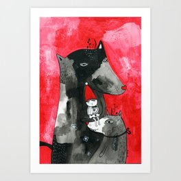 Two wolfs and Little Red Riding Hood Art Print