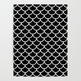 Black and white fish scales pattern Poster