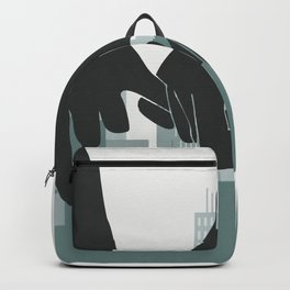 Couple pinky promise cityscape, two lovers hand holding while traveling, gradient green background Backpack