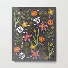 bright retro floral print Metal Print