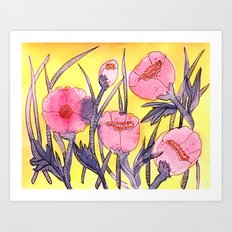 Fever Flowers - pink navy white yellow Art Print