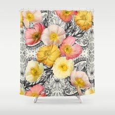 Collage of Poppies and Pattern Shower Curtain