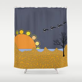 Magpies in sunset Shower Curtain