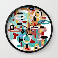 mid century Wall Clocks featuring Mid Century One by Tina Carroll