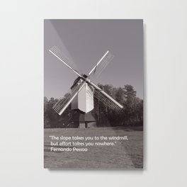 Monochrome windmill and inspirational quote Metal Print