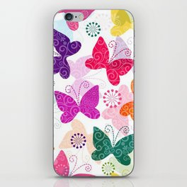 Colorful Butterflies and Flowers V1 iPhone Skin