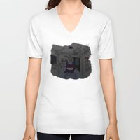 gengar V-neck T-shirts featuring Lurking Gengar by Sebast Hoyos