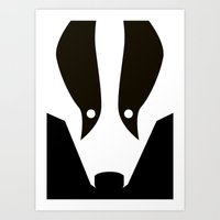badger Art Prints featuring Badger by Christian Bailey