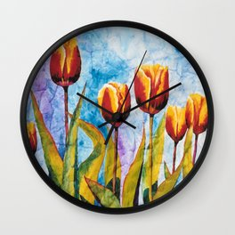 Watercolor Tulips on Wrinkled Paper Wall Clock