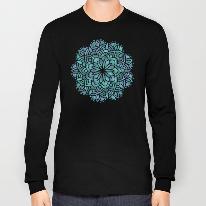 Mandala Succulent Blue Green Long Sleeve T-shirt