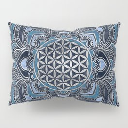 Flower of Life in Lotus Mandala - Blue Crystal and Silver Pillow Sham
