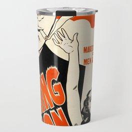 Vintage Poster The Burning Question Travel Mug