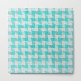 Medium Turquoise Buffalo Plaid Metal Print