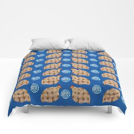 Gold guinea fowl pattern on blue Comforters