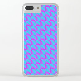 Pattern of blue squares and purple triangles in a zigzag. Clear iPhone Case
