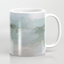 Sage Green Sky Blue Blush Pink Abstract Nature Sunrise Reflection Wall Art Painting Land Sky Earth Coffee Mug