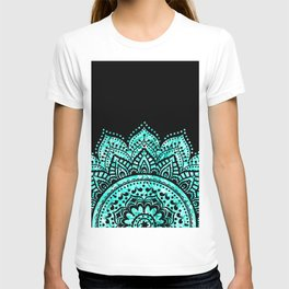 Black teal mandala T-shirt