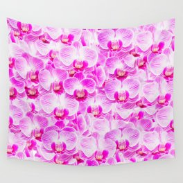 Pink Pattern Orchids Galore Wall Tapestry