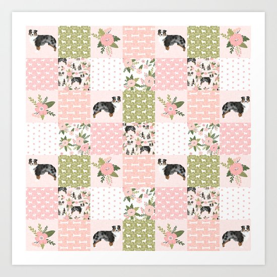 Australian Shepherd Patchwork - purple floral, flowers, dog, dogs, aussie dog, cute dogs, dog blanke by petfriendly