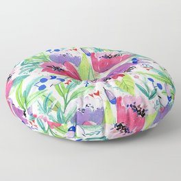 Be Happy, Be Bright, Be You - Pink flowers Floor Pillow