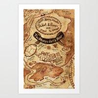 marauders Art Prints featuring Marauders Map by Dasha Borisenko
