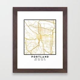 PORTLAND OREGON CITY STREET MAP ART Framed Art Print