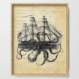 Kraken Octopus Attacking Ship Multi Collage Background Serving Tray