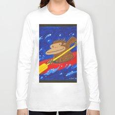 Kayak Ape on Blue Long Sleeve T-shirt
