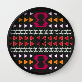 Native pattern in pink and yellow Wall Clock