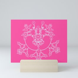 White perl on pink Mini Art Print