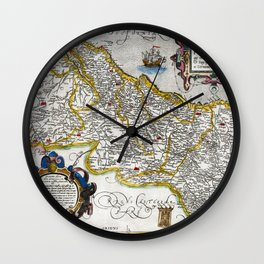 Map of the Kingdom of Portugal by Abraham Ortelius, dated 1560 Wall Clock
