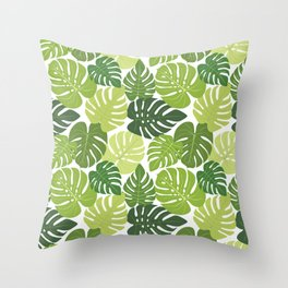 Monstera Leaves Pattern (white background) Throw Pillow