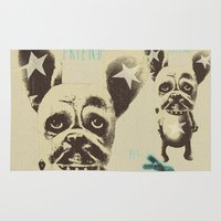 foo fighters Area & Throw Rugs featuring FOO FOO FRENCHIE with Pet Bunny by Haus Of Lelu