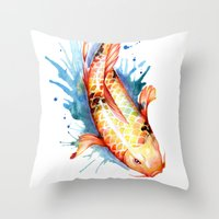 koi Throw Pillows featuring Koi by Sam Nagel