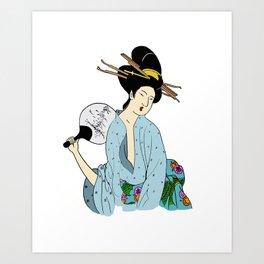 Lady Fan Art Print