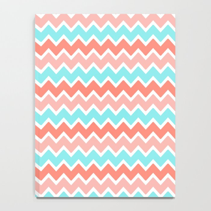 Coral Peach Pink and Aqua Turquoise Blue Chevron Notebook