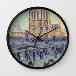 "Maximilien Luce ""The Quai Saint-Michel and Notre-Dame"" Wall Clock"