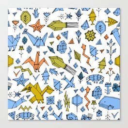 Marine animals and plants, Stylized origami Canvas Print