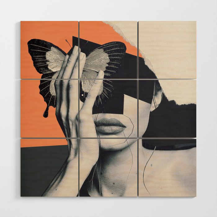 Collage Art Butterfly Wood Wall Art By Dada22 Society6