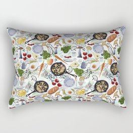 Seamless pattern with food. Fried eggs, fried mushrooms, bread, cheese, tomatoes, carrots, greens. Rectangular Pillow