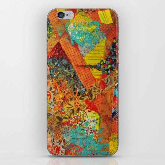 Pieces of Me - Gorgeous Bold Fabric Painting Collage Love Colorful Rainbow Yellow Red Stripes Floral iPhone & iPod Skin