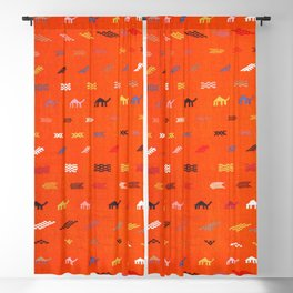 N44 - Moroccan Camels Bohemian Traditional Artwork Sahara Style Blackout Curtain